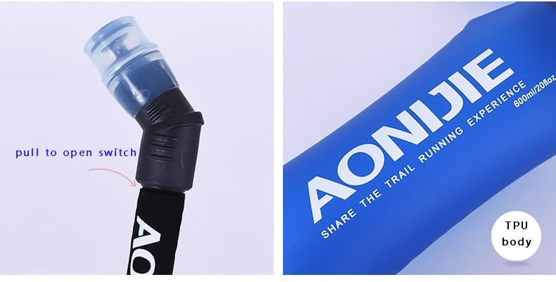 AONIJIE Soft Flask 350ML, water bottle, running, marathon BPA free, botol, water storage 500ml, foldable, straw bottle