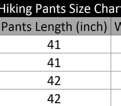 Hiking Pants size chart