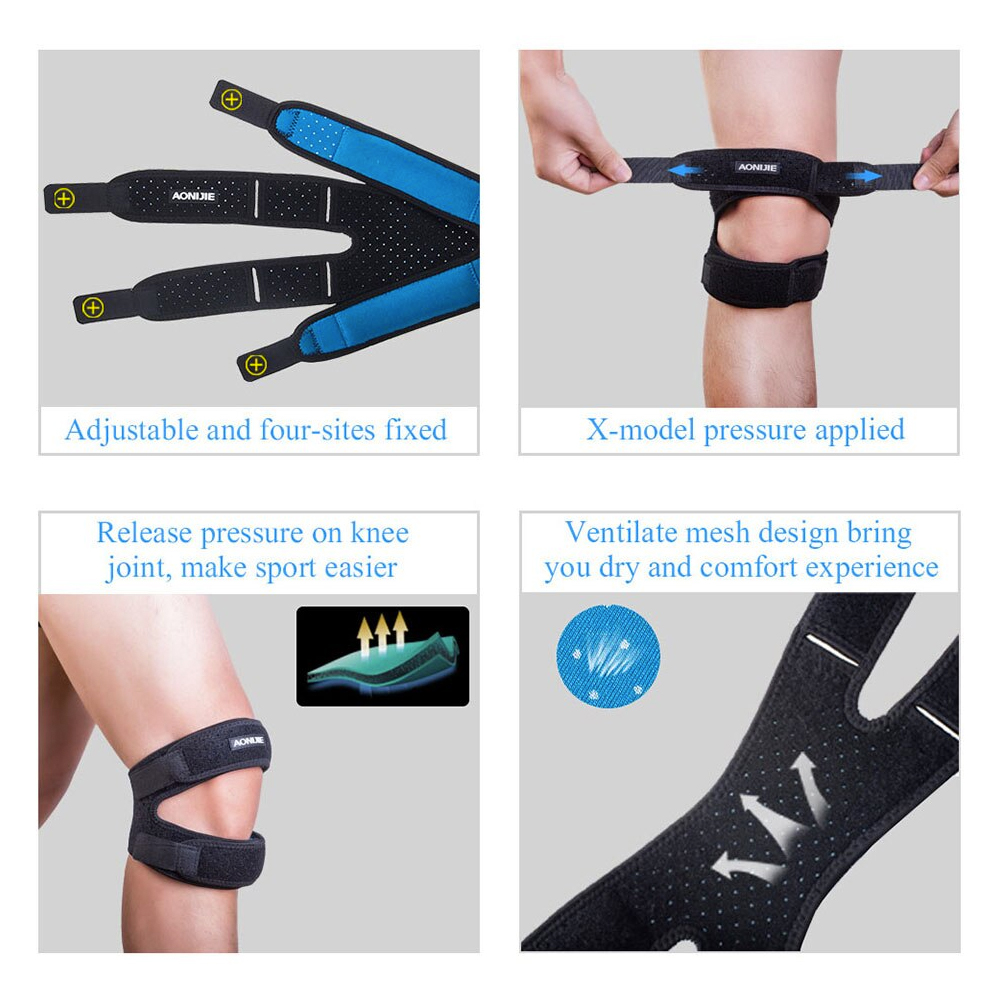 Aonijie Patella Knee Guard, adjustable, mesh fabric, running, cycling, knee guard, tight, protect knee, safe hook and loop faster