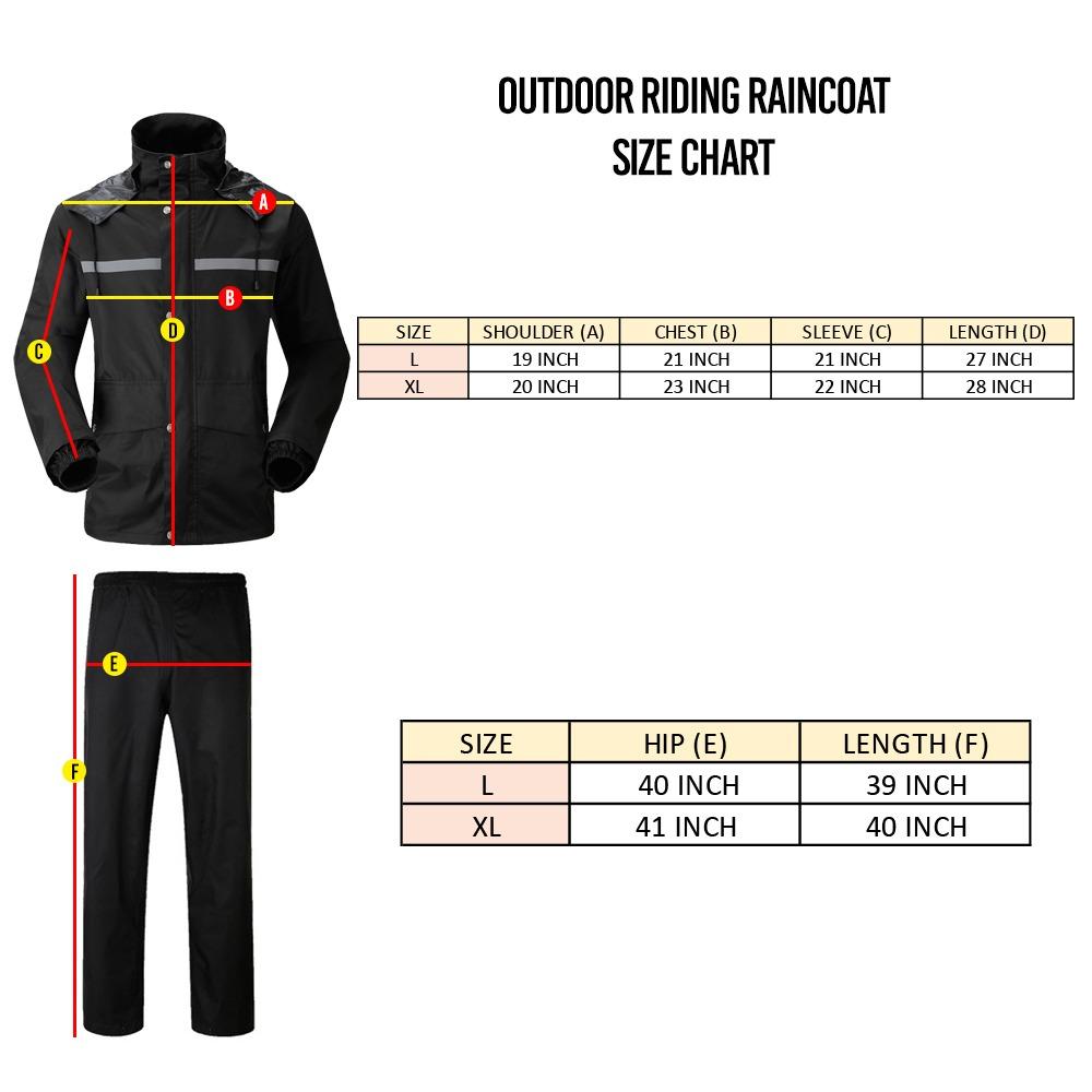 TBF Outdoor Riding Raincoat – Full Set chart