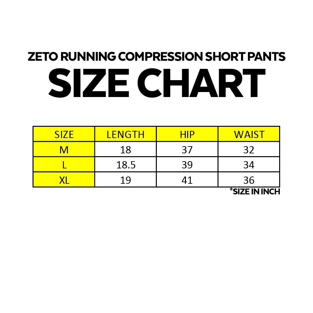 Zeto Running Compression Short Pants, running shorts, jogging pants, cycling short pants, gym, exercise wear