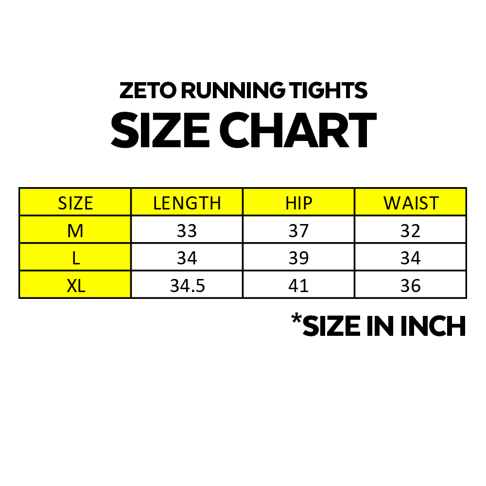 Zeto Running Tights, for men and women wear, running, cycling, hiking, gym, exercise wear