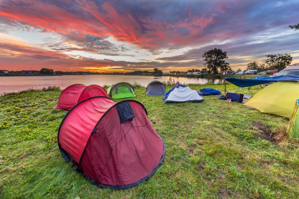 dome tents camping near lake PCL2YNB
