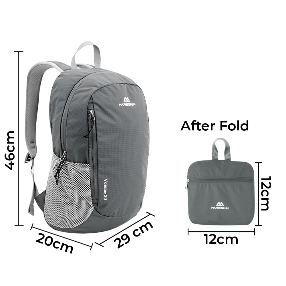 Marsskin 30L Water Resistance Foldable Bag, Water resistant backpack, marsskin backpack, marsskin bag, foldable bag, foldable backpack, travel bag, lightweight bag, hiking bag, camp and hike bag, hiking, running, travelling, camping