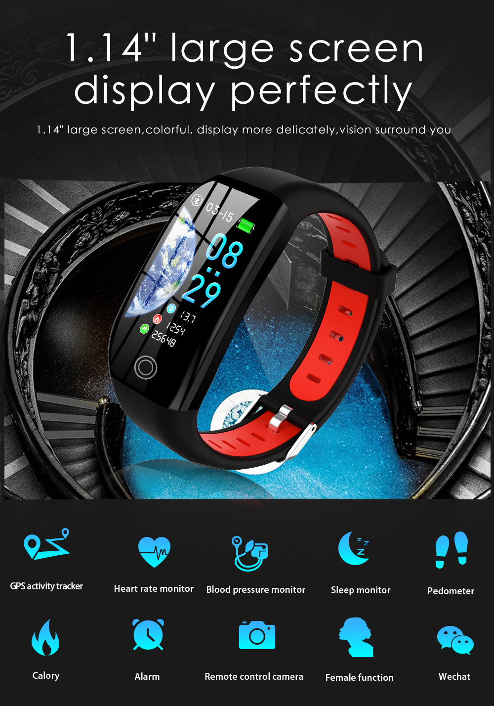 Smart Fitness Tracker with Built-in GPS, GPS Smartwatch Bracelet, gps watch, gps connection, smartwatch, cool design, nice smartwatch design, malaysia smartwatch gps