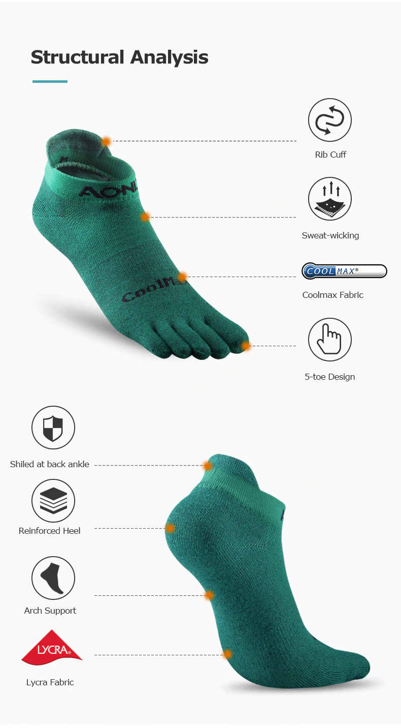 AONIJIE Premium Compression Toe Socks, stoking, running, jogging, marathon, panjang, long, breathability