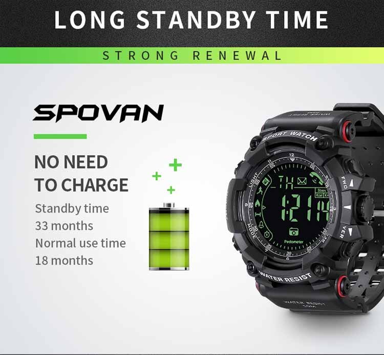 Spovan PR2-2 Smart Watch, Anti-scratch watches, lightweight, water-resistant, alarm, bluetooth smartphone connected