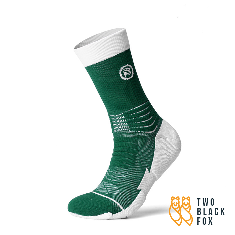 TBF 3/4 Length Compression Socks, green and white