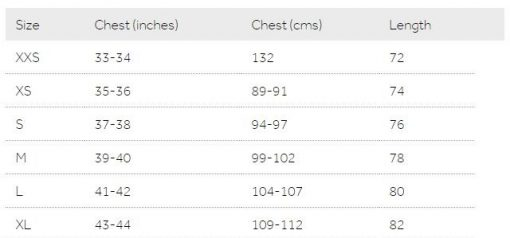 Mac In A Sac Origin Adult Jacket size chart