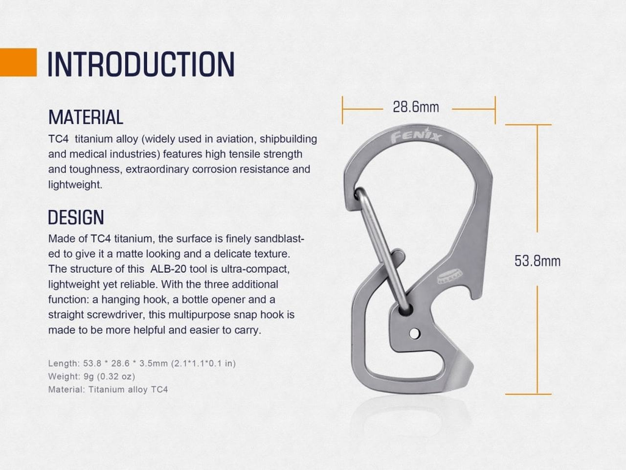 Fenix ALB-20 Multi-Purpose Snap Hook