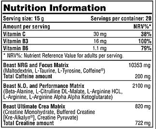 GALVANIZE CHROME BEAST nutrition information