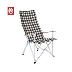 COLEMAN Deluxe Brown Check Relax Chair- easy fold