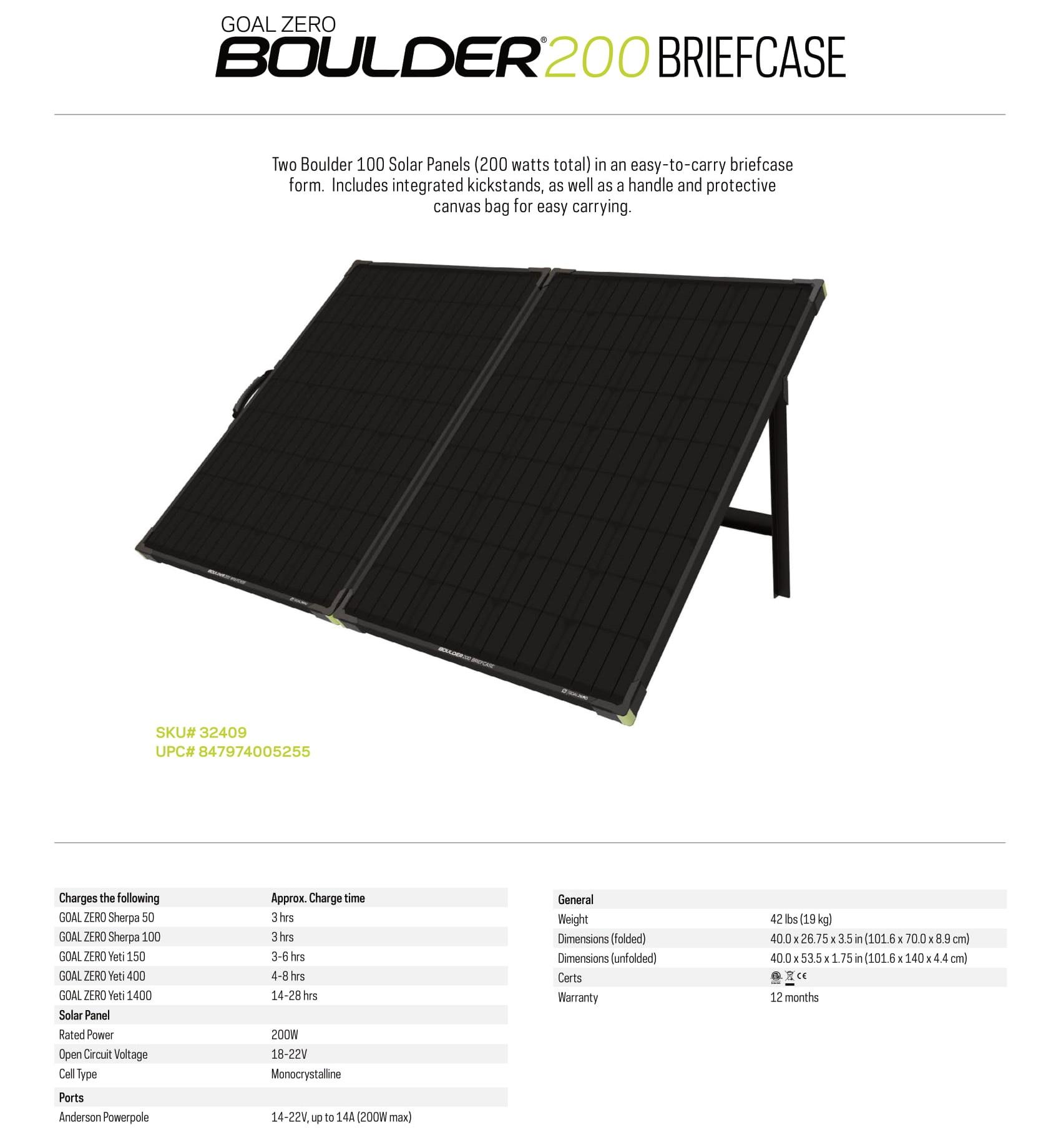 Goal Zero Boulder Solar Panel Briefcase 200 free shipping, outdoor solar briefcase, solar panel