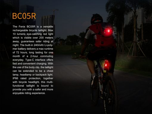Fenix BCO5R Multifunctional Rechargeable Bicycle Tail Light- 4 output levels