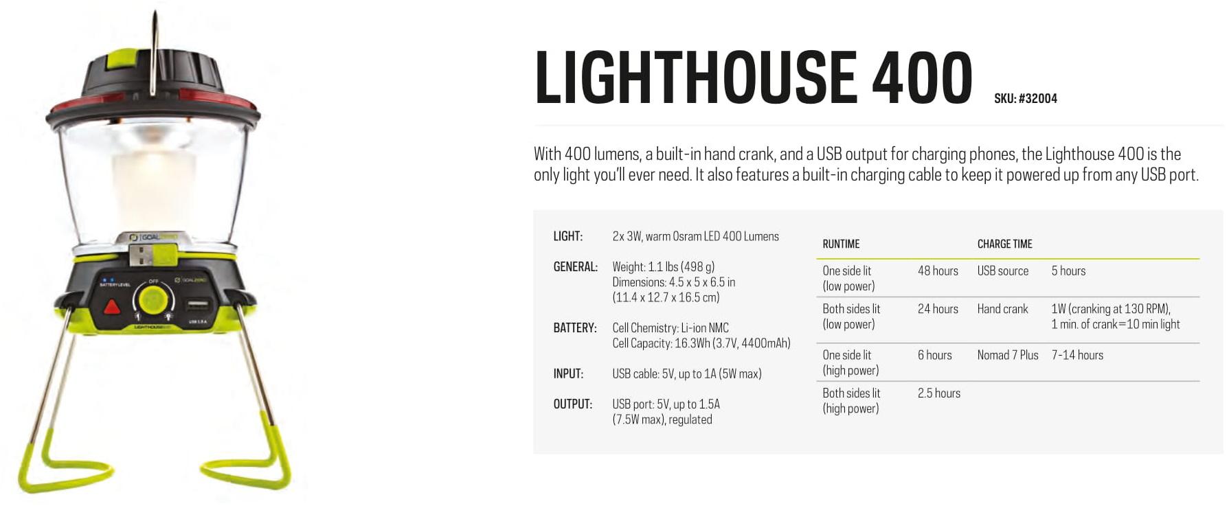 Goal Zero Lighthouse 400 Lantern & USB Power Hub, rechargeable, usb power hub, port, charge phone, outdoor lantern light 400 lumens
