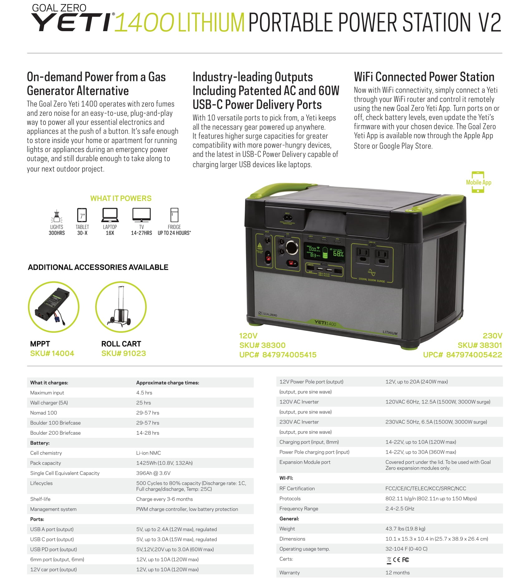 Goal Zero Yeti 1400 Lithium Portable Power Station, home power energy storage, outdoor energy saving, free shipping