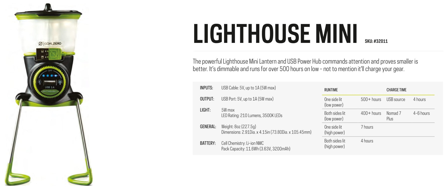 Goal Zero Lighthouse Rechargeable Mini Lantern, phone charger, outdoor energy storage, power supply