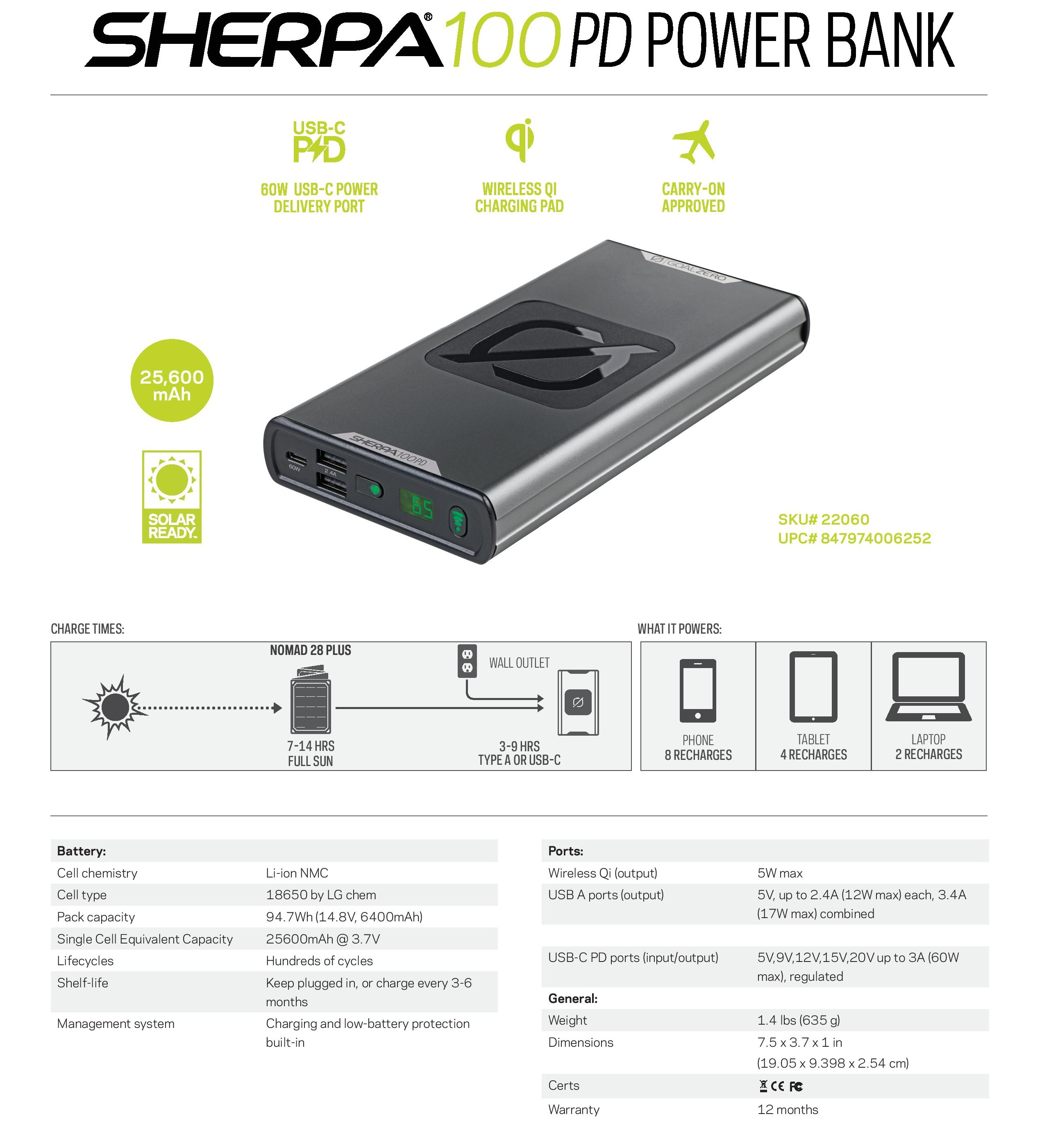 Goal Zero Sherpa 100PD Power Bank 25600 mAh, power energy outdoor, travel free, free shipping, airline approved, safe to travel