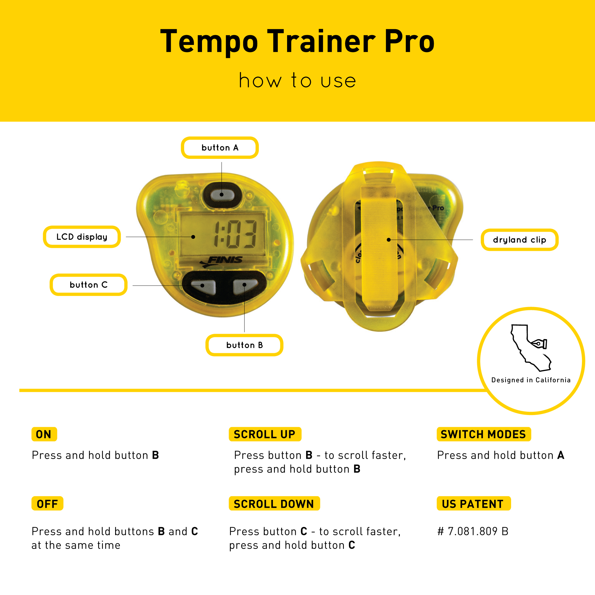 FINIS Tempo Trainer Pro Underwater Metronome, waterproof, long life battery, transmit beep