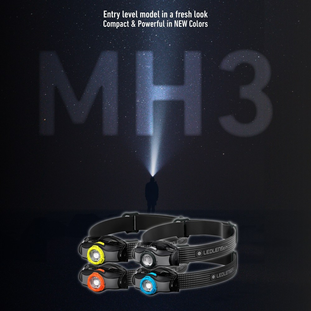 LEDLENSER MH3 Headlamp, lampu suluh, torchlight, AA Battery, 200 Lumens at 92g, Advanced Focus System, Dual Power Source, Rapid Focus, headlight, night hiking, lamp, lampu kepala