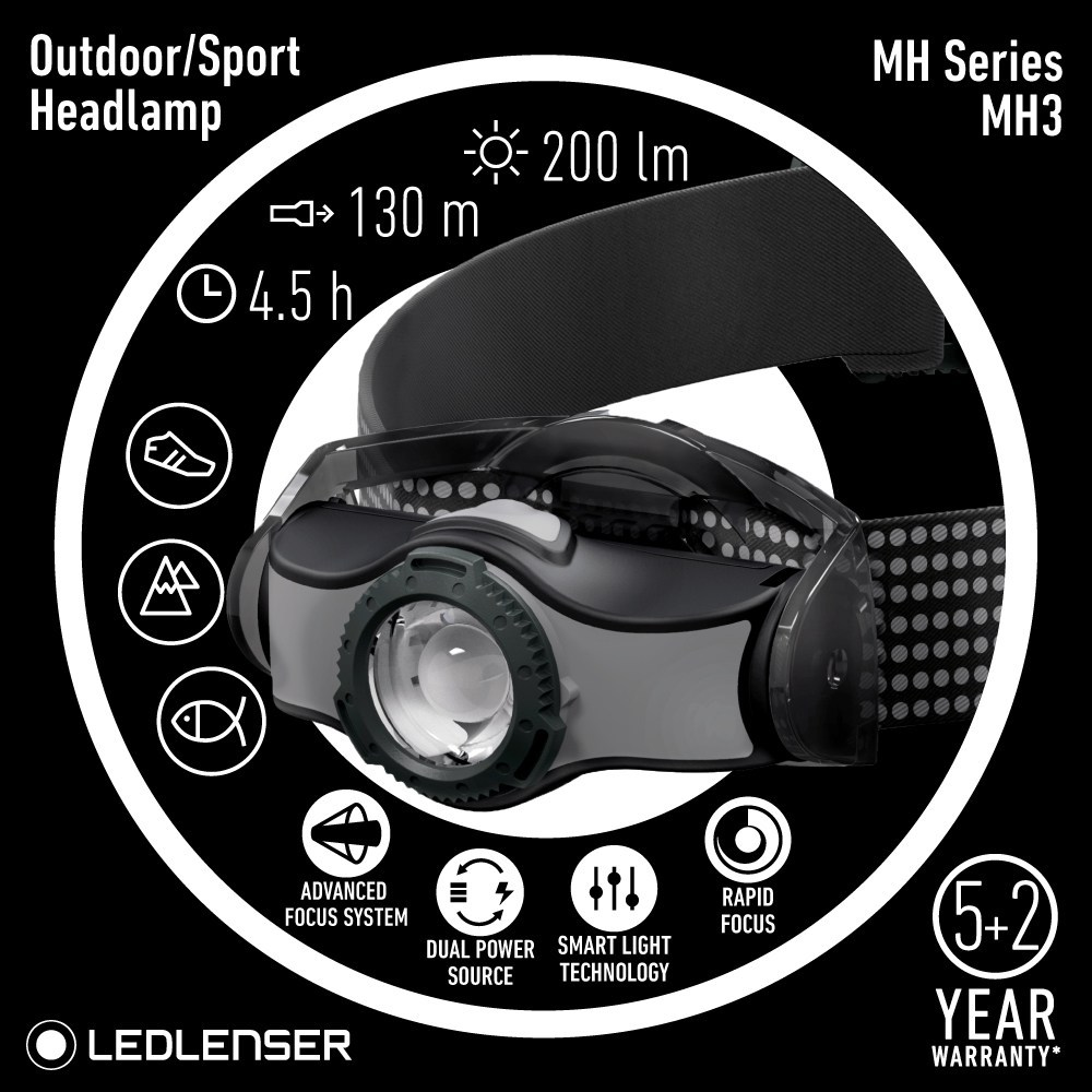 LED Lenser MH3 Headlamp, AA Battery, 200 Lumens at 92g, Advanced Focus System, Dual Power Source, Rapid Focus, headlight, night hiking, lamp, lampu kepala