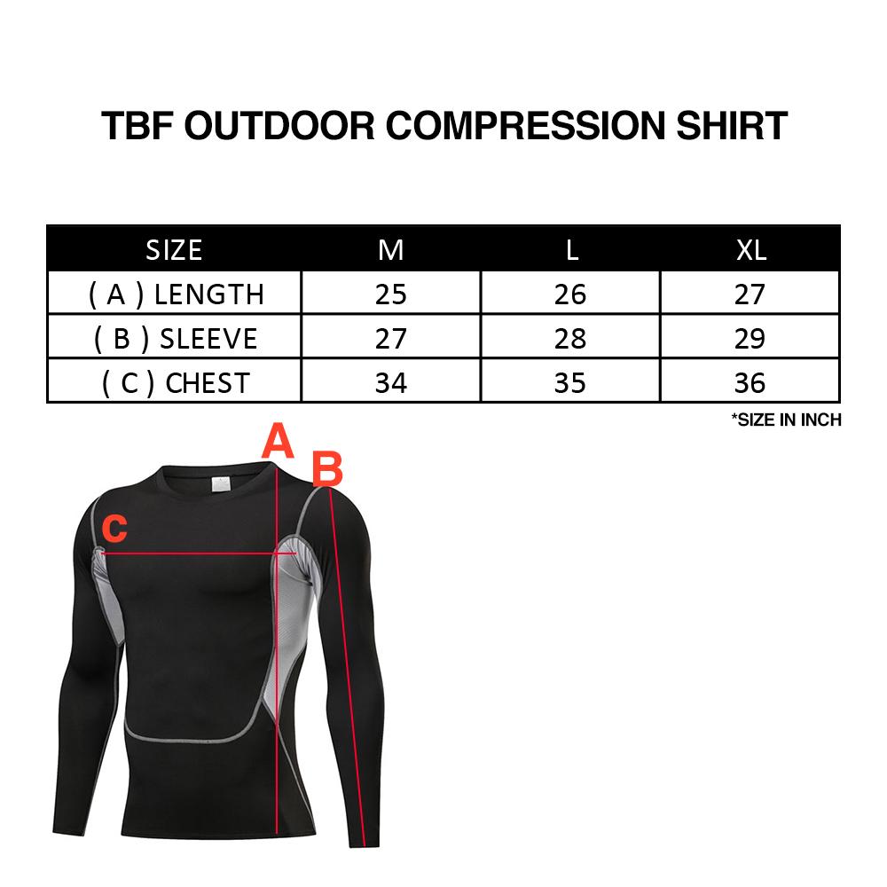 TBF Outdoor Compression Shirt, sports, workout, t-shirt, jersey, cool effect, breathable, baju sukan lengan panjang lelaki, perempuan, long sleeve running shirt, cycling, athlete, cloth, apparel, sado, body