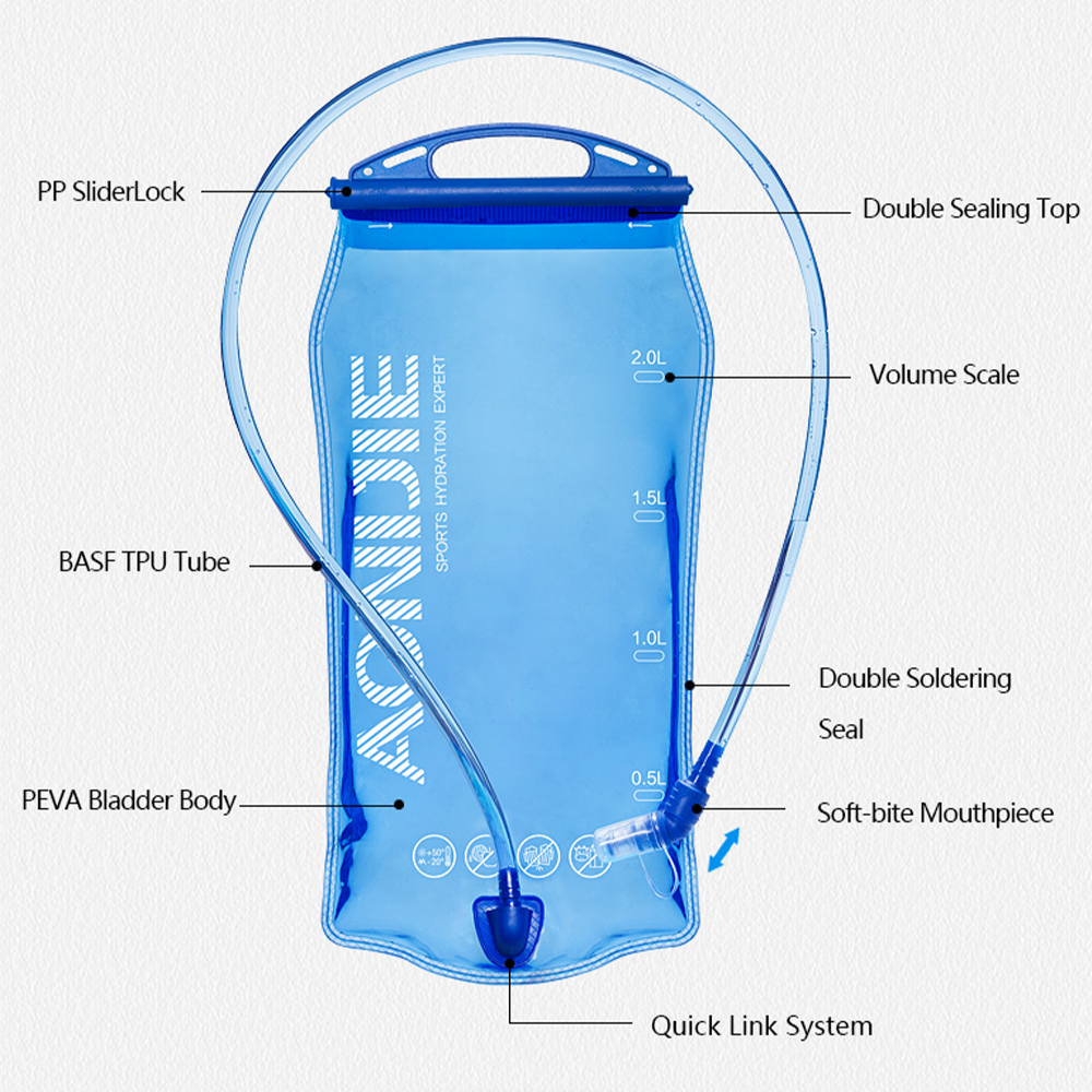Aonijie 1.5L Hydration Bladder, pouch, water bag, supply, water bottle, air, botol, sack, pack, liter