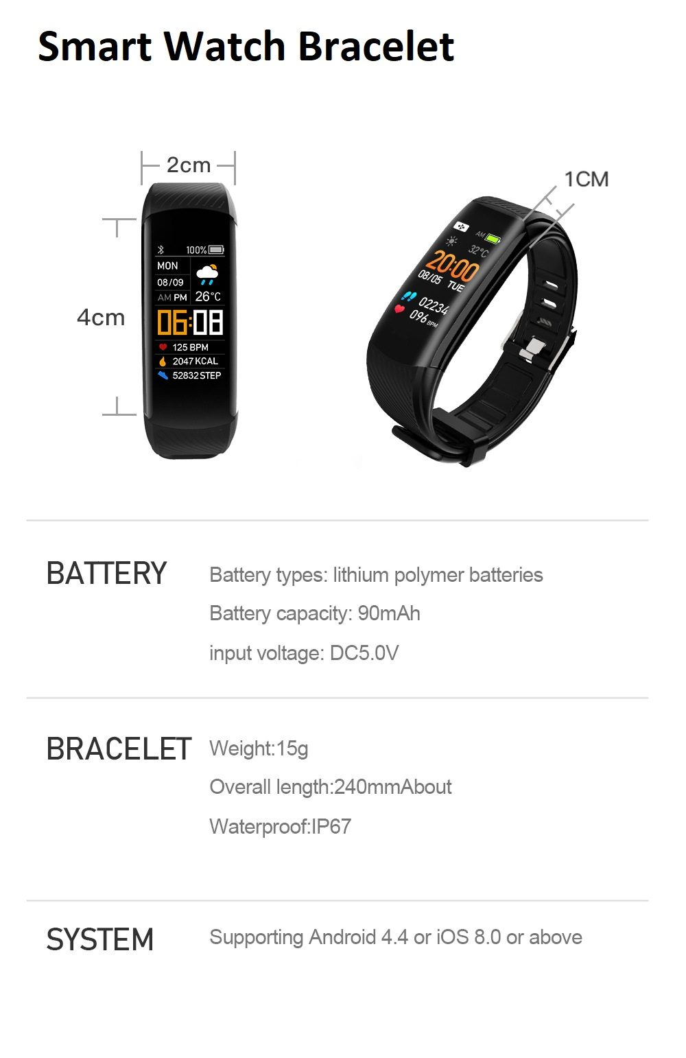 YoMi Smart Watch Bracelet with Bluetooth, smartwatch, smartphone, jam tangan, lelaki, perempuan, men, women, sports,running, heart rate monitor, alarlm, HD
