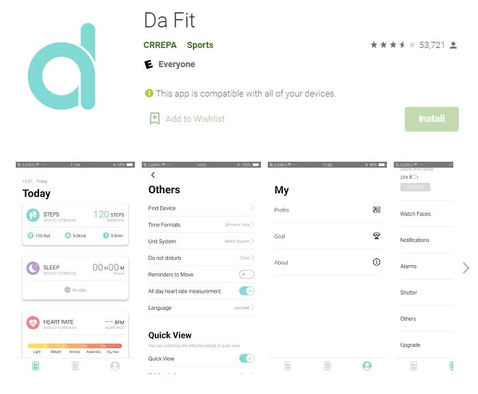 Da fit apps H16 Smartwatch
