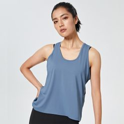 Female Loose Fit Quick Dry Tank Top Blue