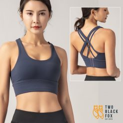 TBF Outdoor Double Crossback with Push up Sport Bra Blue