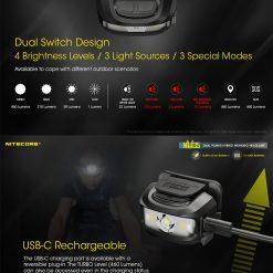 NITECORE NU35 LED Rechargeable Headlamp 6