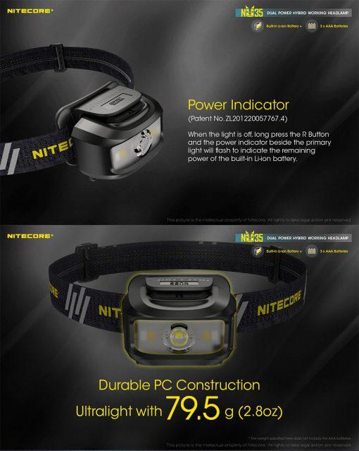 NITECORE NU35 LED Rechargeable Headlamp 7