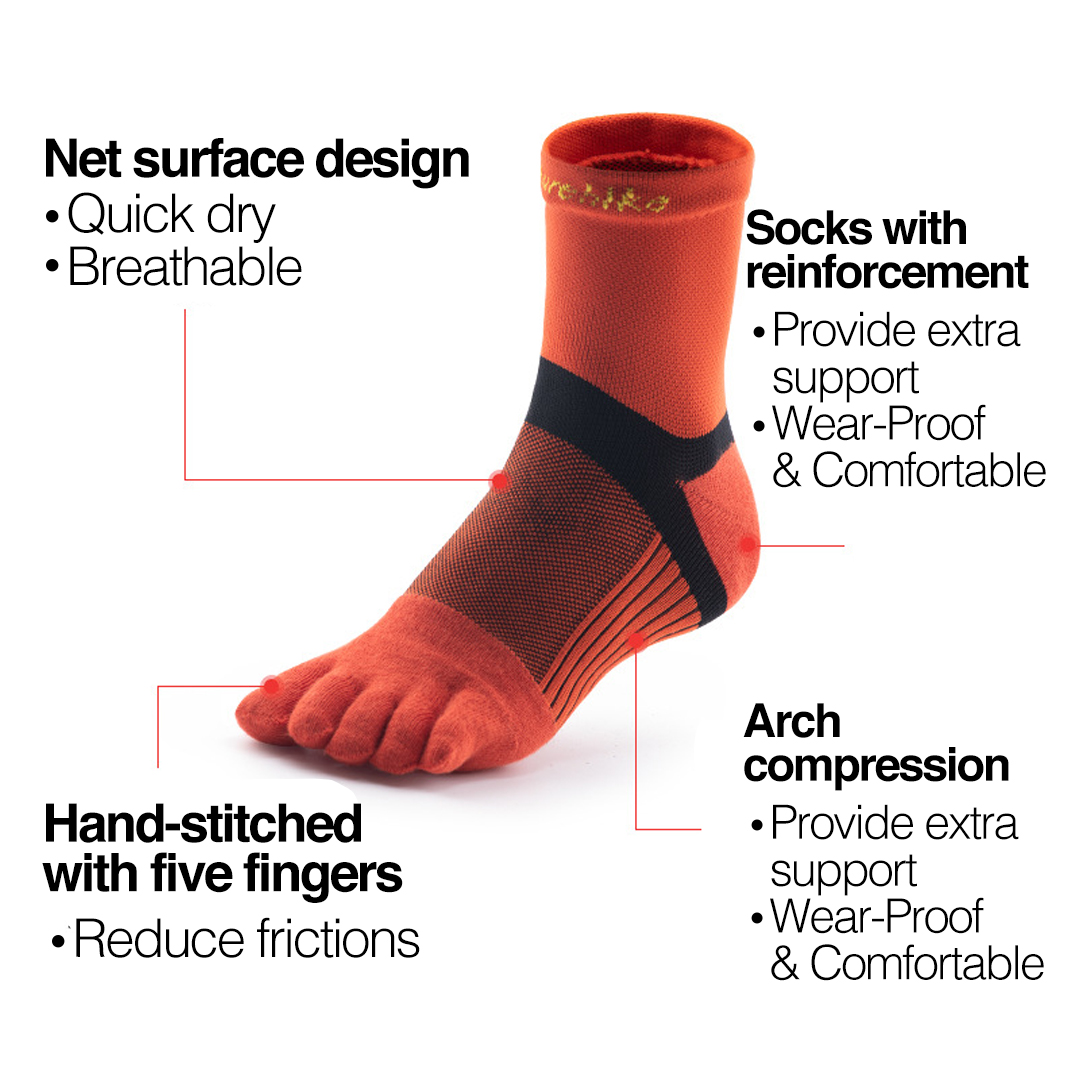 NATUREHIKE Quick Dry Running Toe Socks, natural separate toe sock, five finger, mesh, comfortable, breathable, running, hiking, marathon, cycling, stoking, pendek, short, quick dry