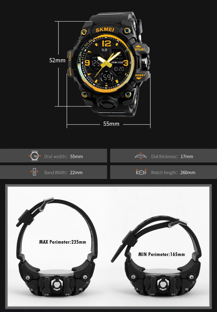 SKMEI 1155 Digital Watch, jam tangan, lelaki, men, women, wanita, unisex, analog, digital, tracking, camping, running, cycling, calendar, alarm