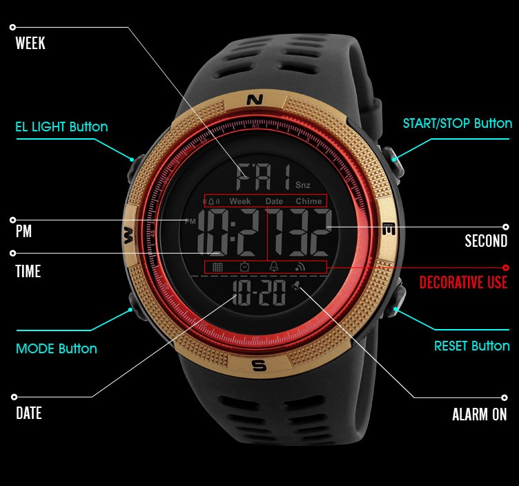 SKMEI 1251 Digital Watch, jam tangan, women, unisex, wristband, running, sweat, water resistant, date, EL backlight, hiking, bracelet, lelaki, wanita