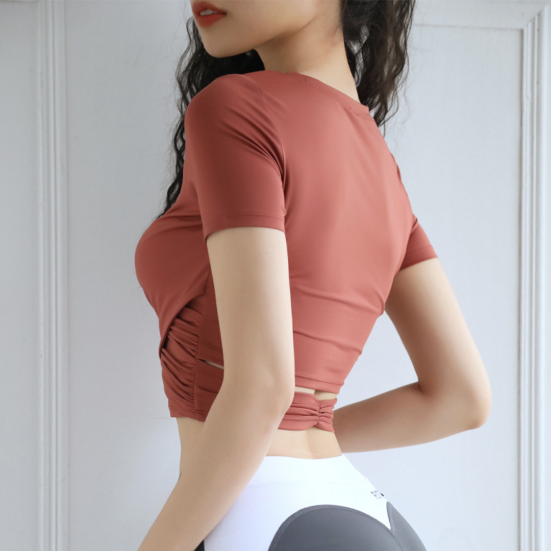 TBF Fitness Crop Top Yoga Shirt, baju ketat, tight, cropped, shirt, fashion