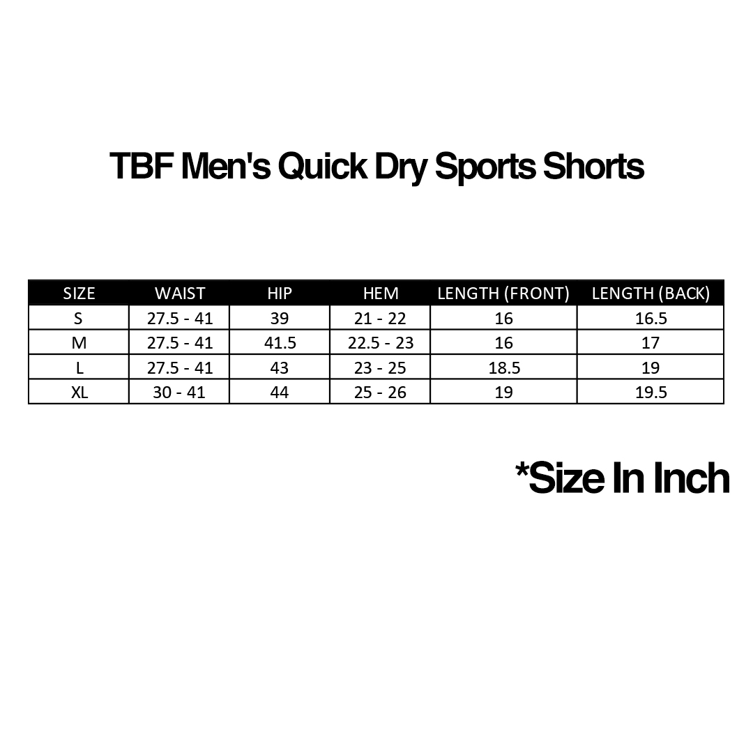 TBF Men's Quick Dry Sports Shorts, TBF, Football, Running, Fitness, Pants, Short