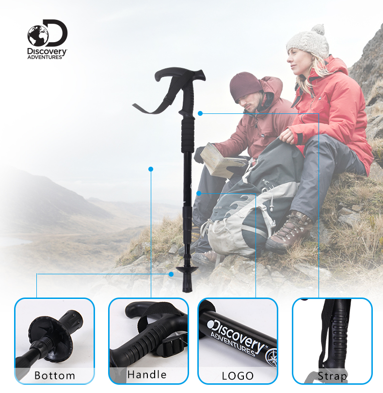 DISCOVERY ADVENTURES Adjustable Grasp Trekking Pole 4-Section