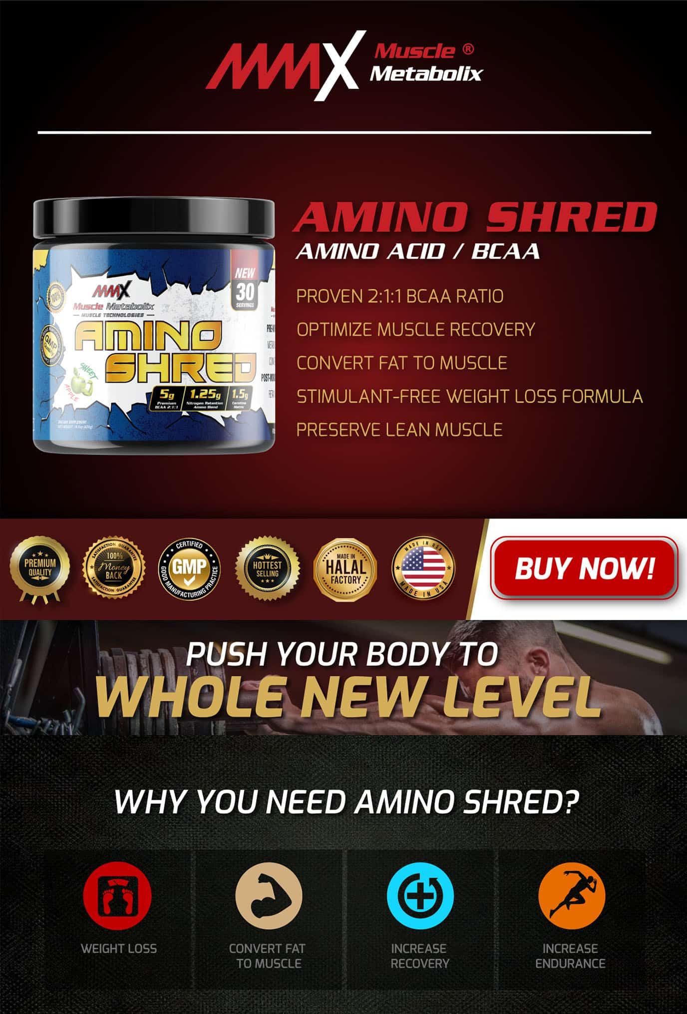 MMX Amino Shred, muscle, burn fat, kurus, slim, thin, body builder, gym, nutrition pro, supplement, sihat, improve energy, gymnast, cyclist, BCAA, kuat tiger, kuasa kuda, amino acid, sado