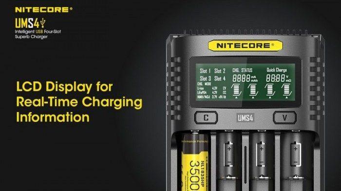 NITECORE UMS USB Universal 4-Slot Li-ion NiMH Battery Charger, bateri, charging, phone