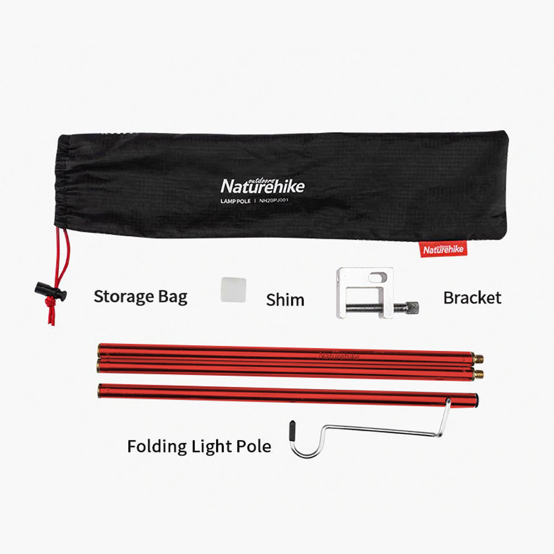 NATUREHIKE Foldable Lamp Pole, Ground Nail, Standing Camping Light Pole, Ultralight Aluminum Alloy, light pole, tiang, pacak tiang khemah, Lantern Hanger,