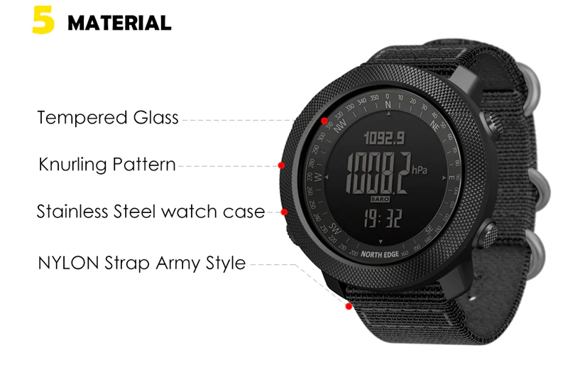 NORTH EDGE Apache Smartwatch, Sport Watch For Men Digital Wristwatch, Gps Waterproof Miliary, Tactical Watches Army Smartwatch Bluetooth, jam tangan, alarm, bluetooth