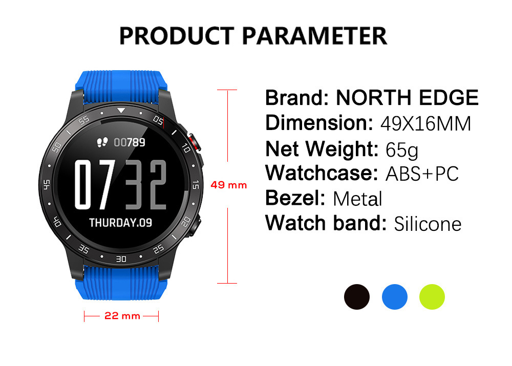 NORTH EDGE Cross Fit 2 Smartwatch, jam tangan, wristband, bracelet, smartphone, alarm, heart rate, step count