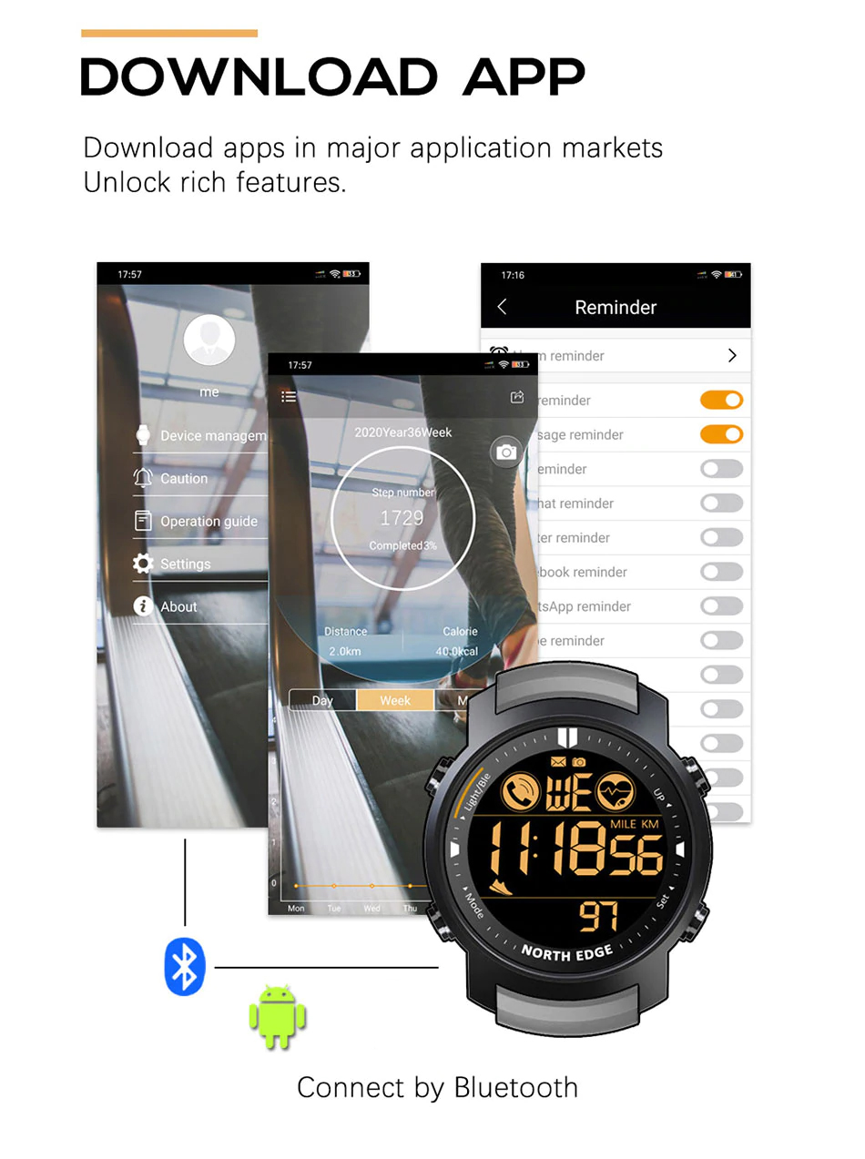 NORTH EDGE Laker Smartwatch, jam tangan, 50 meter water resistant, alarm, bluetooth, smartphone, heart rate, calories, step count