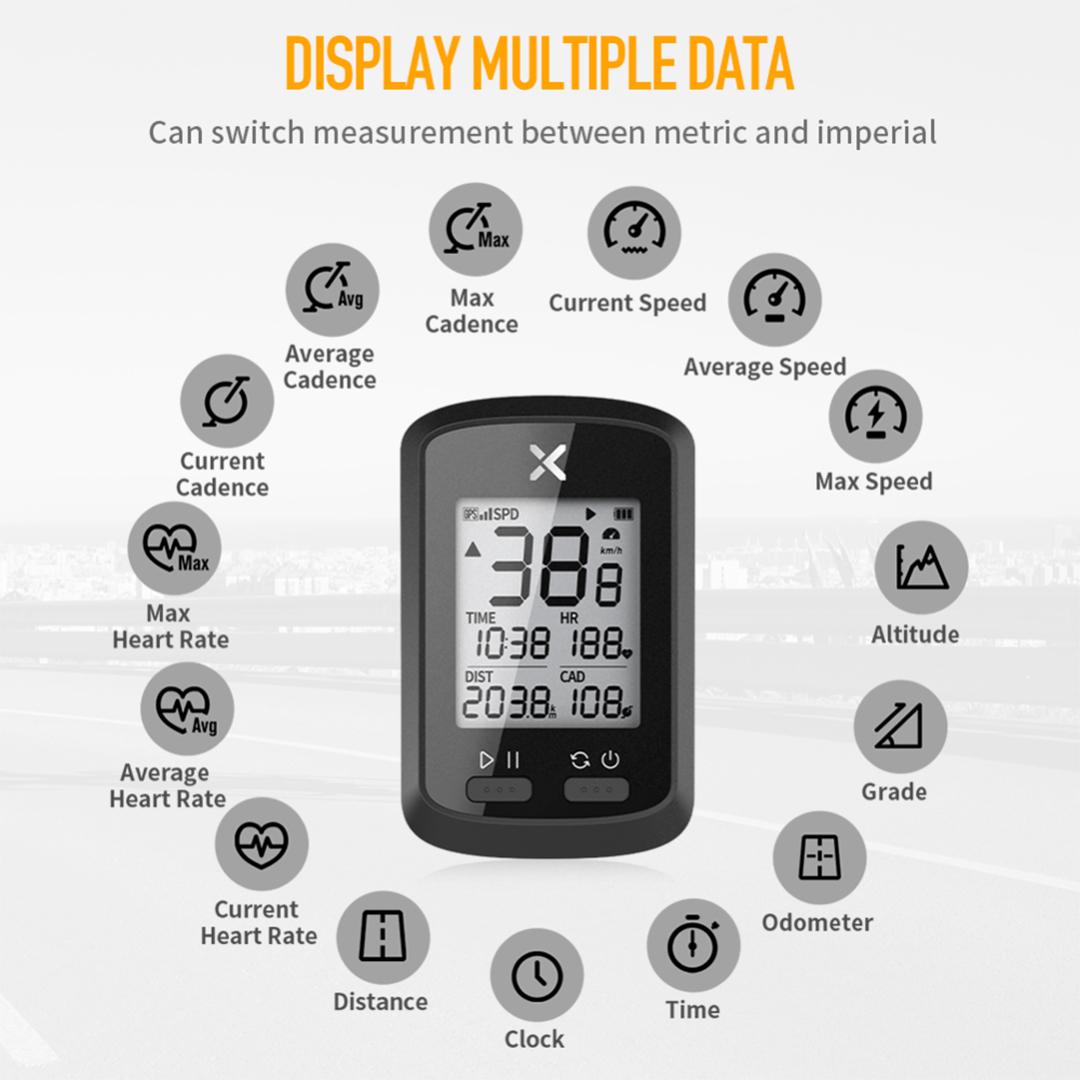 XOSS G+ GPS Bike Computer, pedometer, bluetooth, wireless, smartphone, track data, record, riding, cycling, driving, 4 satellite location, gps, external sensor, basikal, rakam, komputer, recorder, tracker, alarm, heart rate, speed, kelajuan