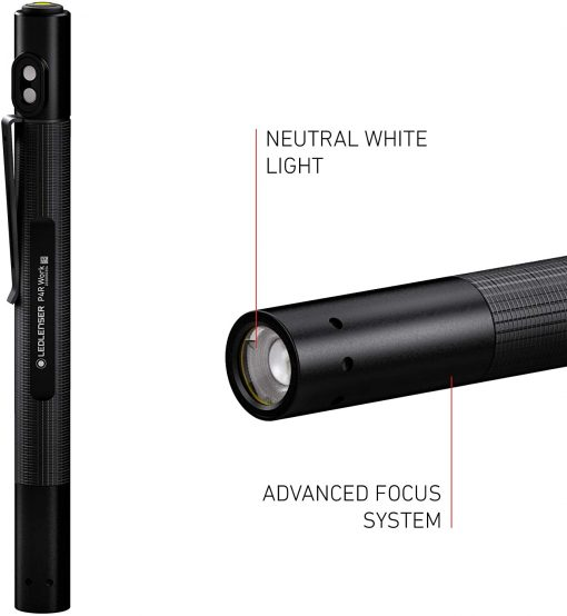 Ledlenser, P2R Work Rechargeable Pen Light, 110 Lumens, Advanced Focus System, Magnetic Charge System