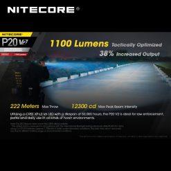 High Performance NITECORE P20 V2 CREE XP-L2 V6 LED 1100 Lumens 2nd Generation STROBE READY™ Tactical Flashlight