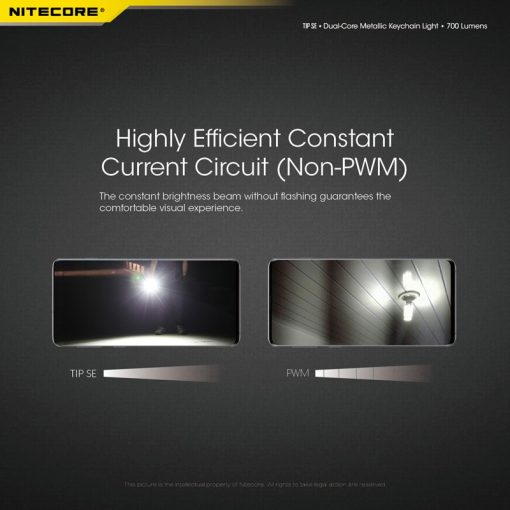 USB-C Charging NITECORE TIP SE 700 Lumens EDC Flashlight Dual-Core Metallic Keychain Light Built-in Li-ion Battery