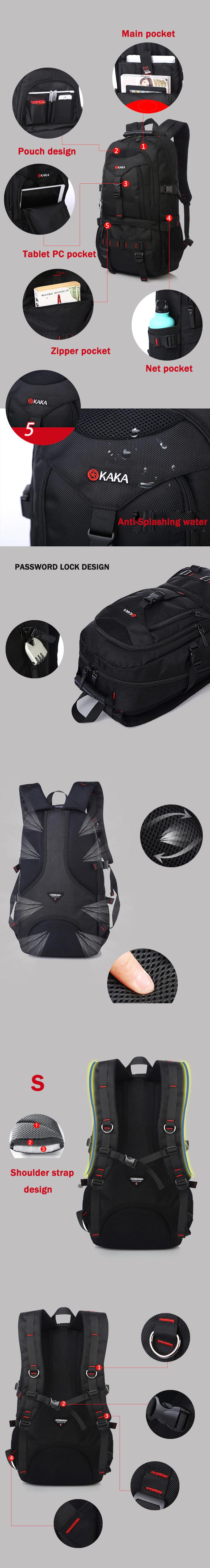 KAKA 35L Water Resistance Backpack, bag, beg, bagpack, shoulder, sling, travel bag